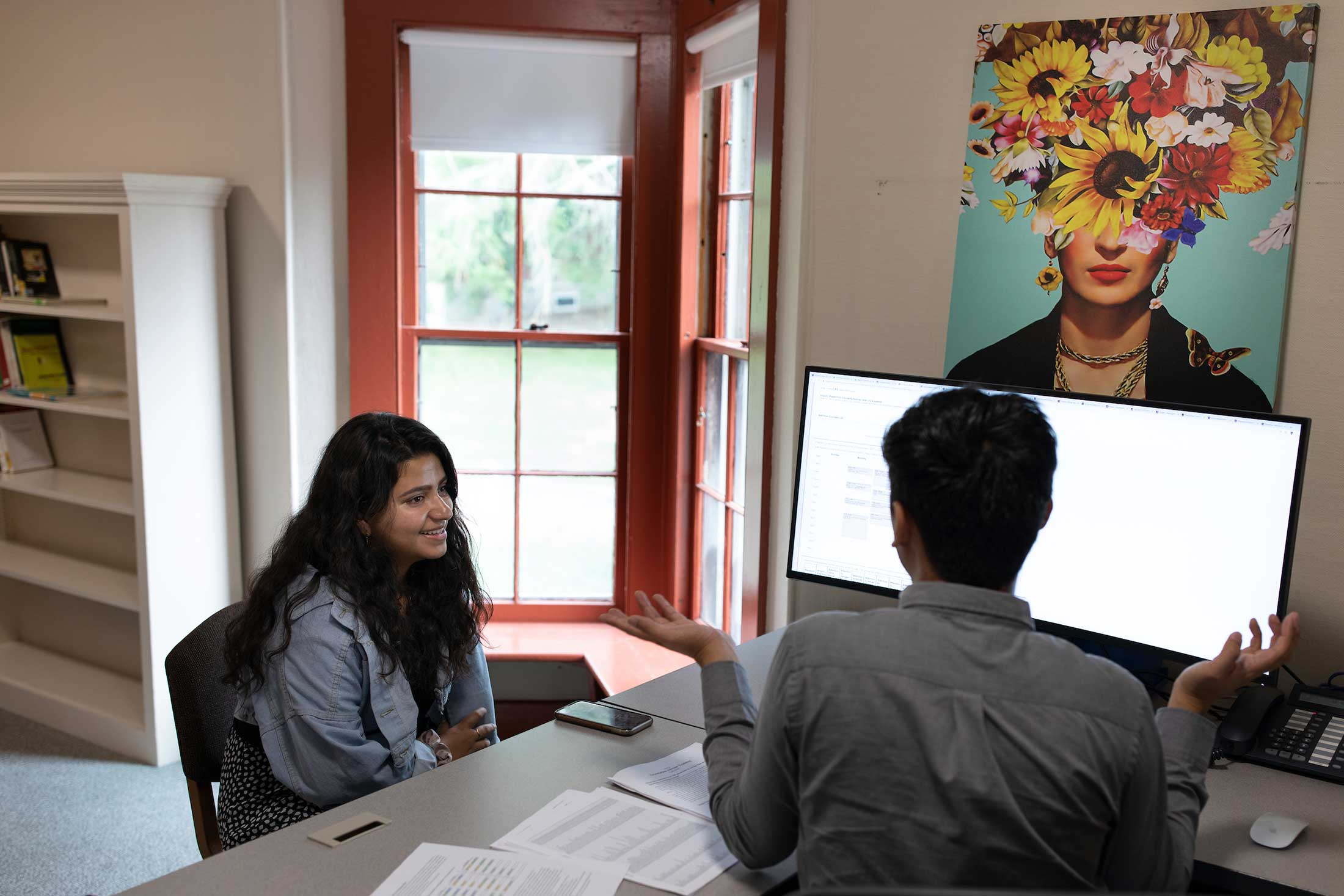 A student visits meets with Professor Sony Coranez Bolton during an advising session