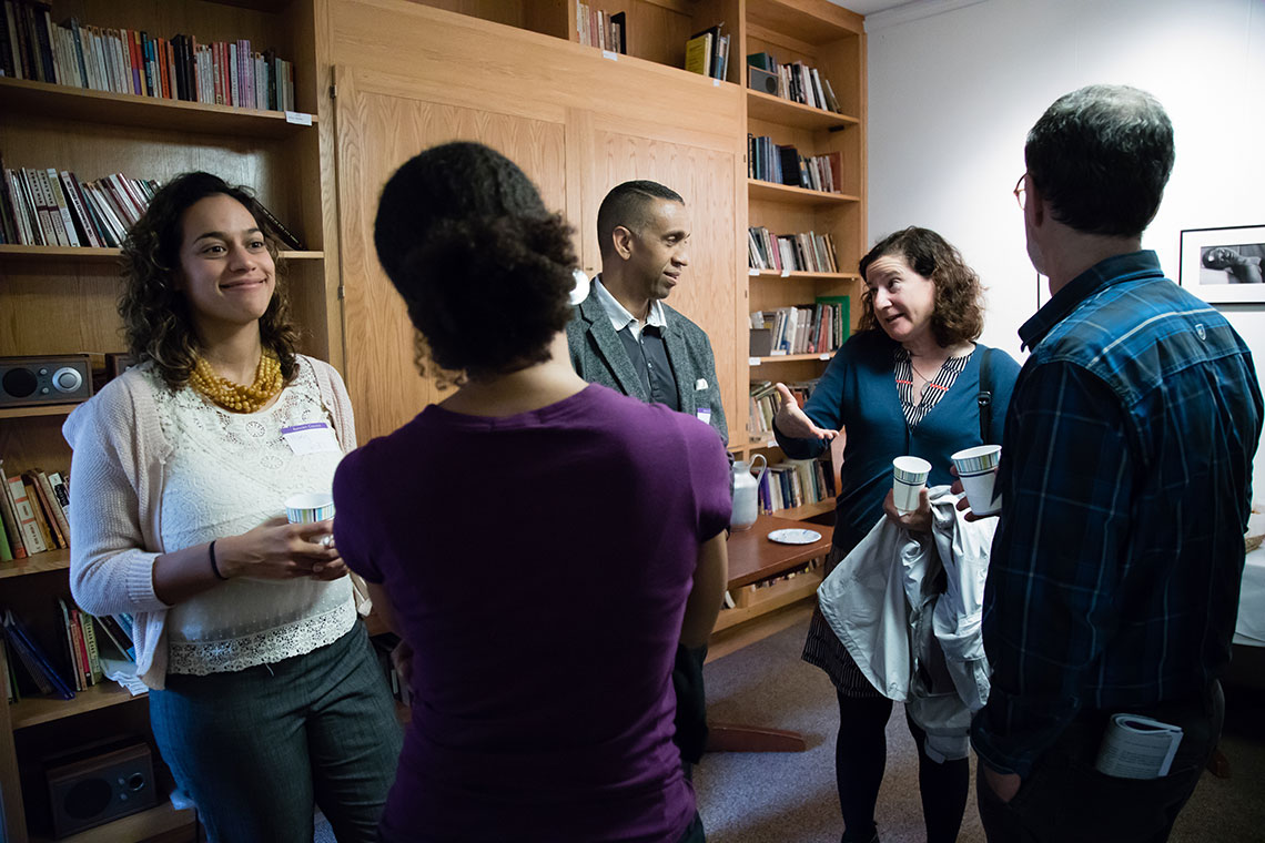 Professor Mary Hicks and visitors at the Black Studies Department Reception, Cooper House.