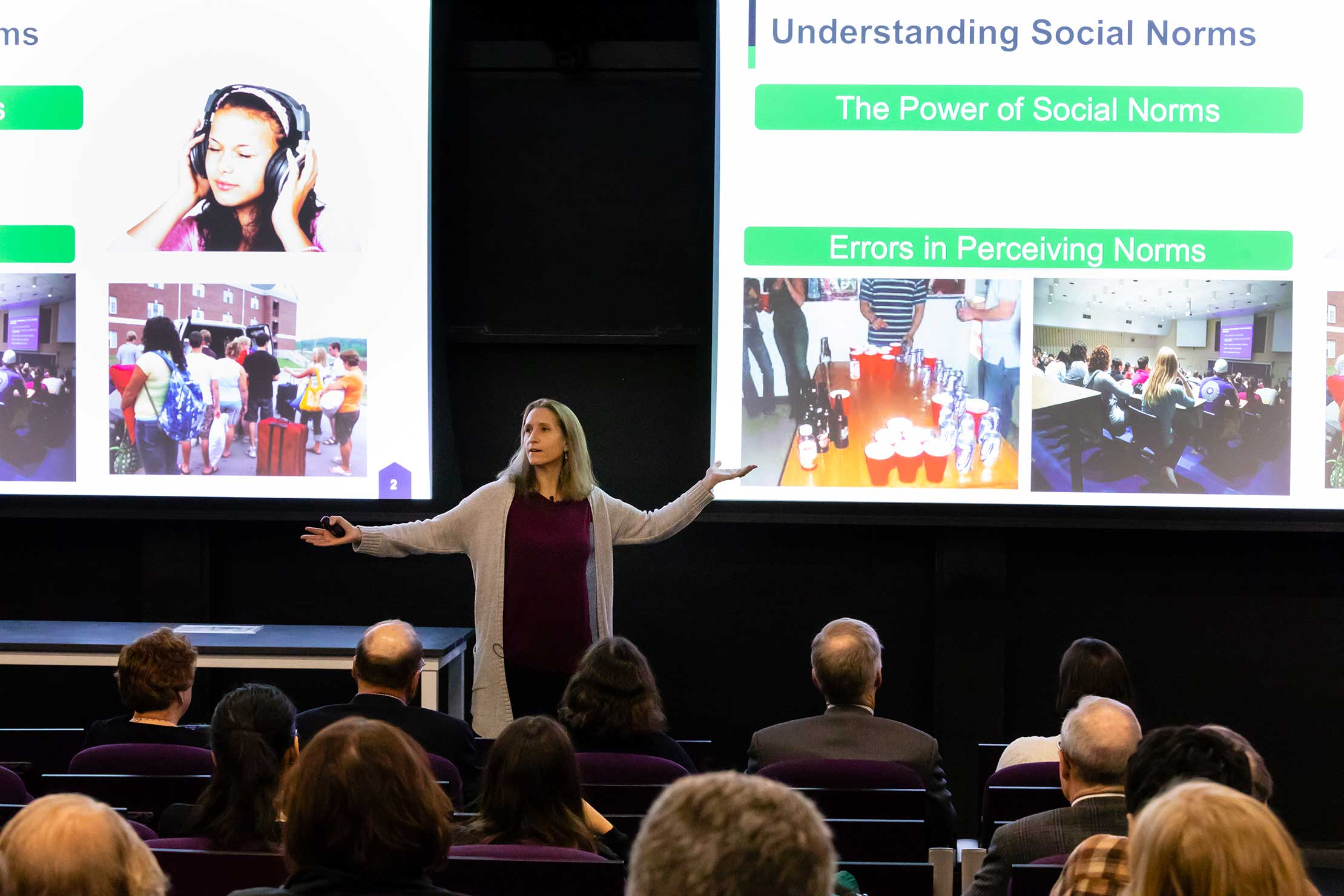 "The Lipton Lecture Hall Dedication in the new Science center featured a talk by Psychology Professor Catherine Sanderson: ""They Aren't as Thin or as Happy as You Think They Are: Exploring Causes and Consequences of Misperceiving Social Norms at Amherst."""