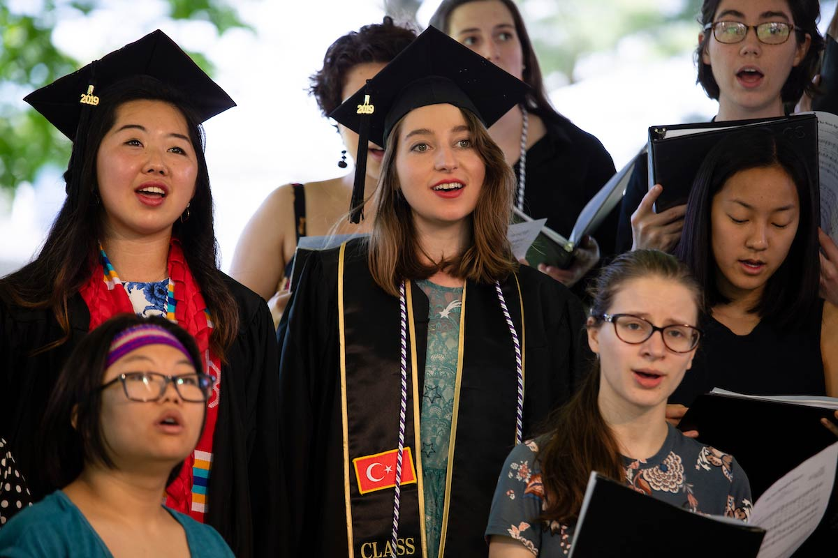 The Amehrst College Choral Society performed at the Commencement ceremony