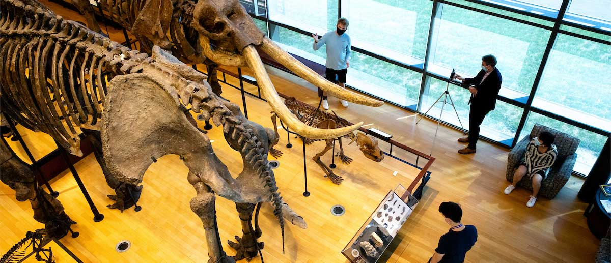a student giving a socially distant tour inside the beneski museum of natural history