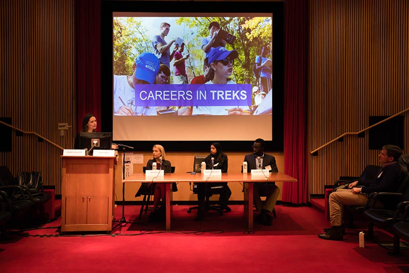 Emily Griffen, director fo the Loeb Center for Career Exploration and Planning speaking in Cole Assembly Room