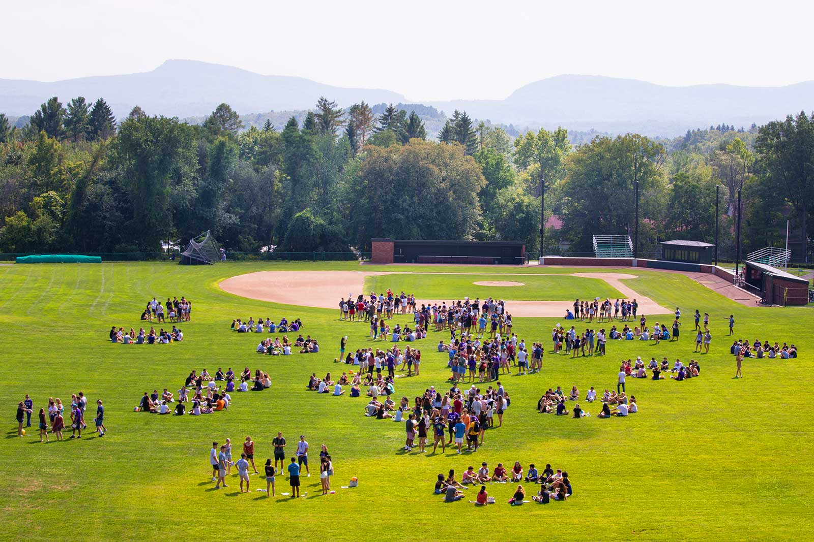 New students gathered in squads on Memorial Field.