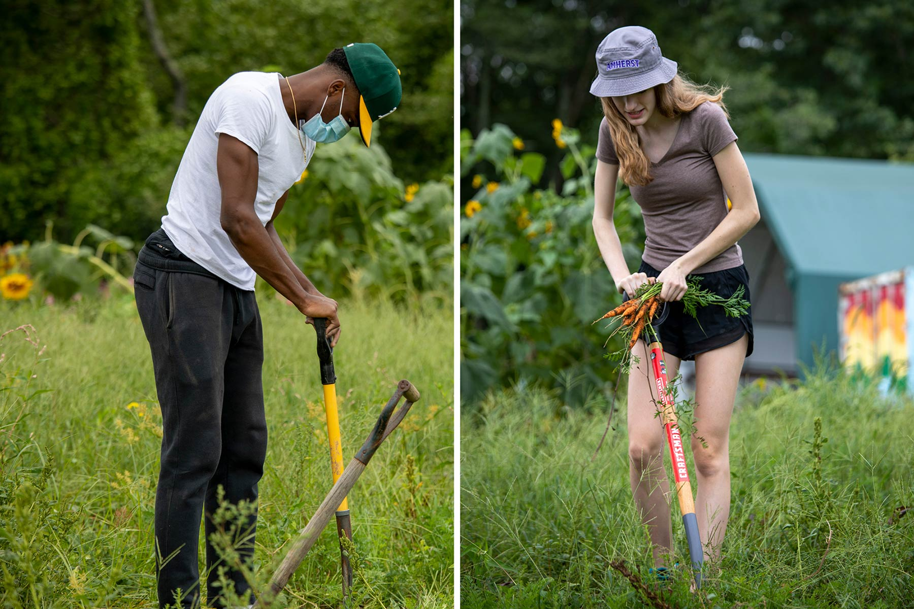 two students working on the book and plow farm
