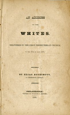 "Title page from ""An Address to the Whites"""