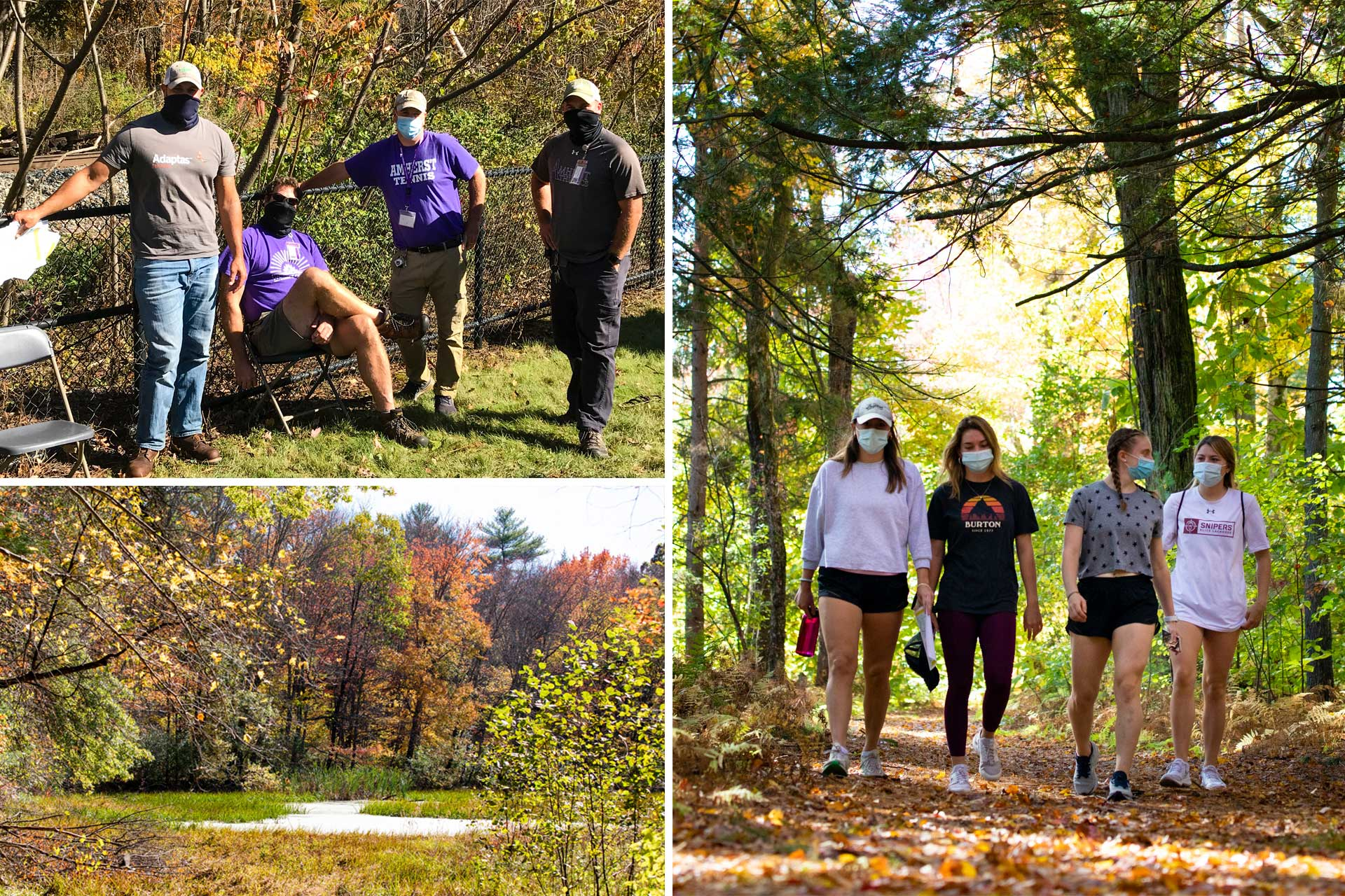 Students and staff hiking on the trails on the College's campus