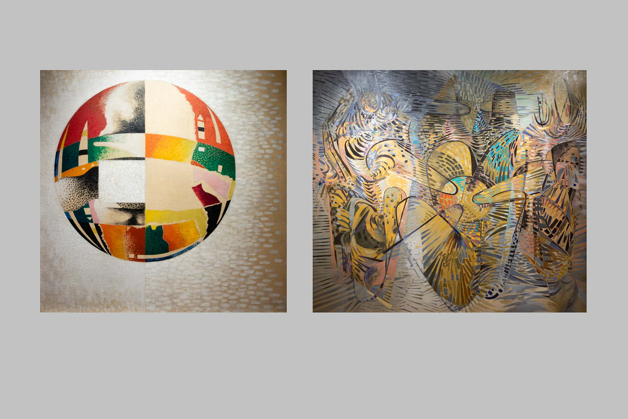 On the left: Nuclear II (1946) by László Moholy-Nagy; on the right: Les Cosmogones (1944), by Wolfgang Paalen.