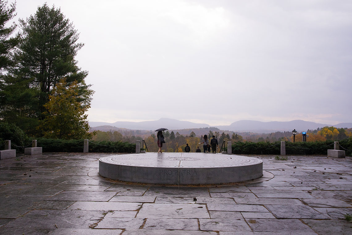A rainy day view of the War Memorial overlooking the Holyoke Range