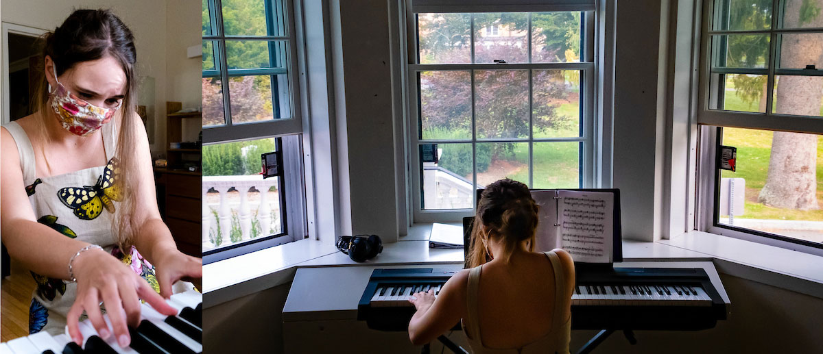 a student practices the piano in her dorm room