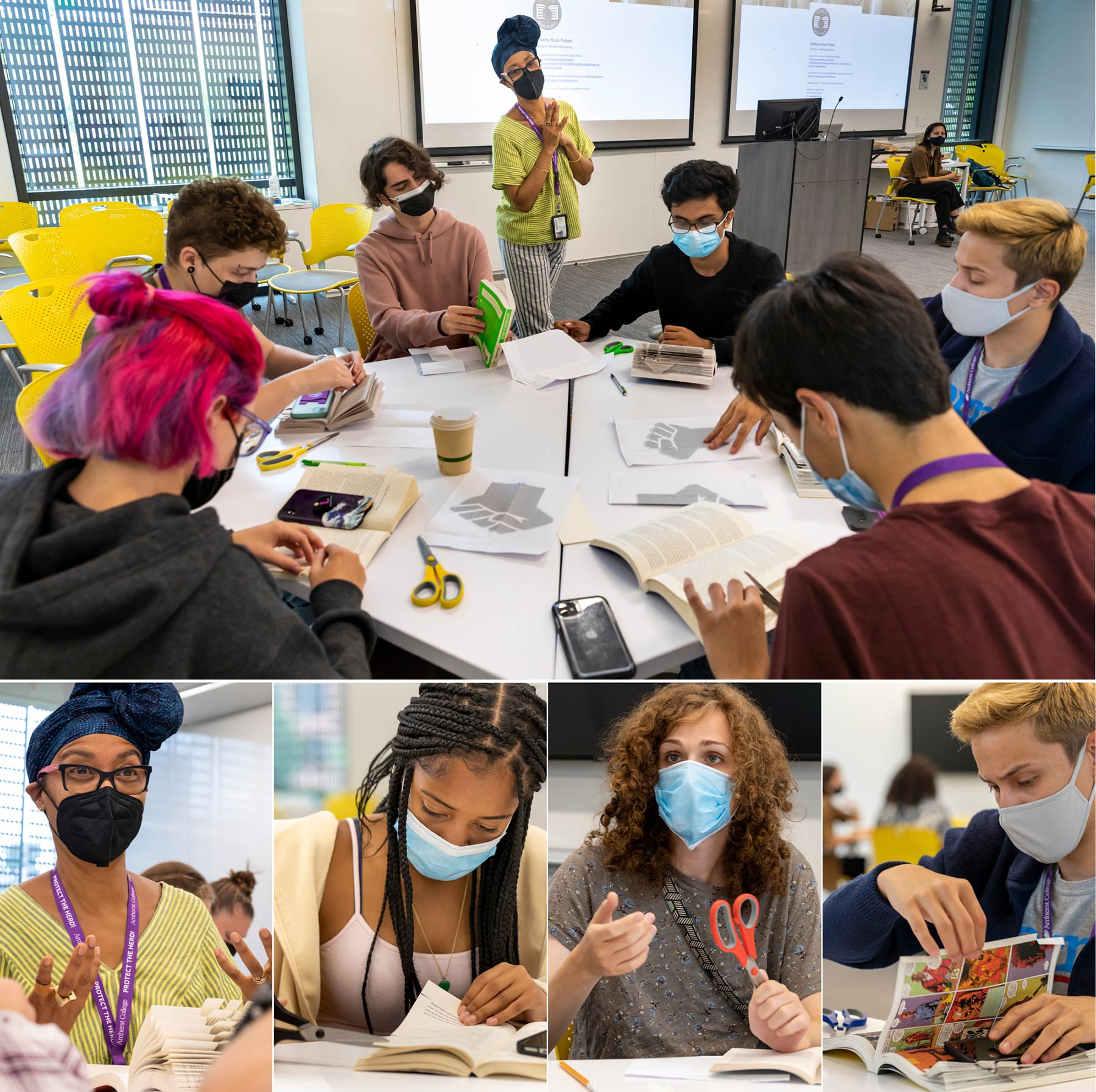 students learn how to sculpt a book for the solidarity book project
