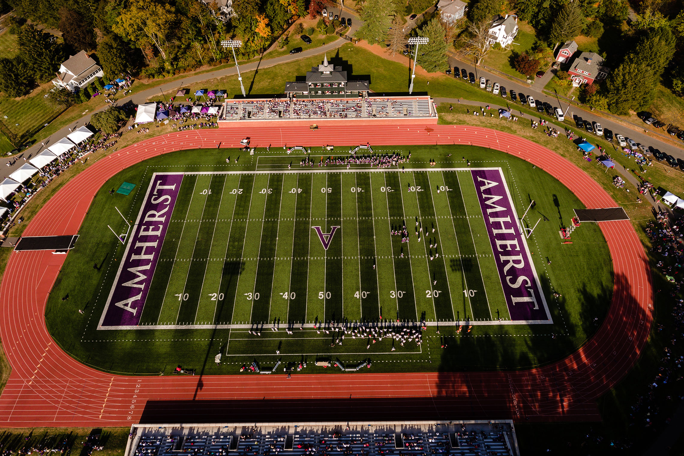 An aerial view of Pratt Field, Amherst College.