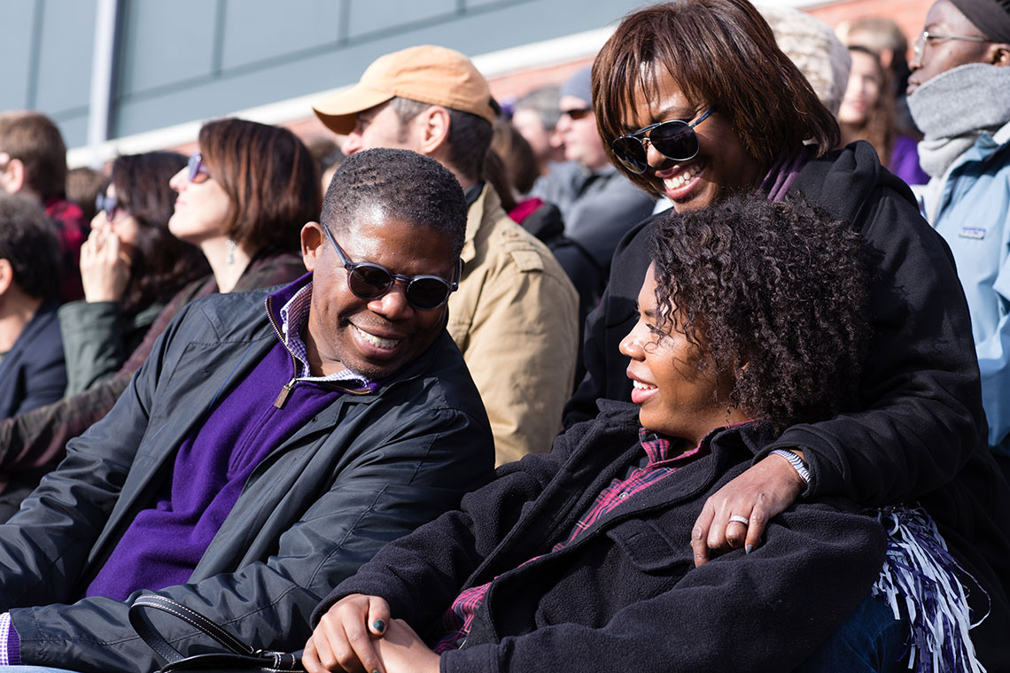 Spectators at Amherst Football v. Trinity Pratt Field , Family Weekend 2017.