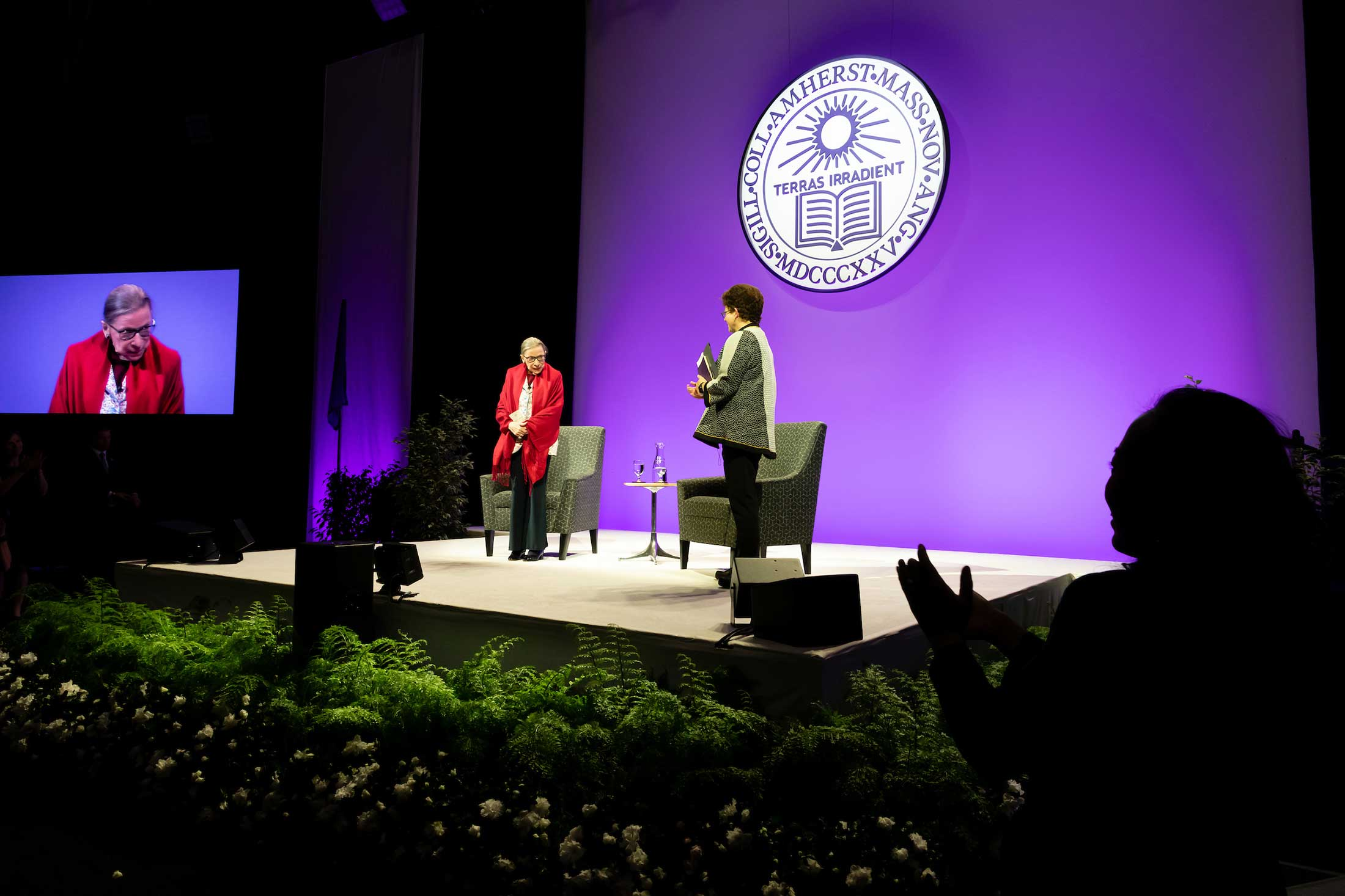 Justice Ginsburg and President Biddy Martin standing on stage side by side