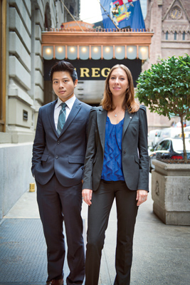 Henry Bao-Viet Nguyen '13 and Lacie Goldberg '13 outside St. Regis Hotel.