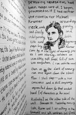 Writing and drawing of Lou Andreas-Salomé on Frost Library restroom wall