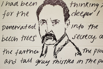 Writing and drawing of Rainer Maria Rilke on Frost Library restroom wall