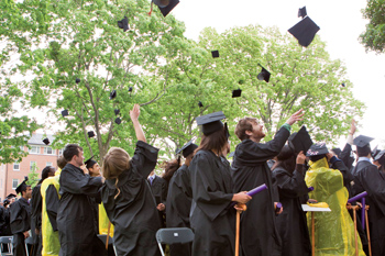 Graduates toss caps in the air.