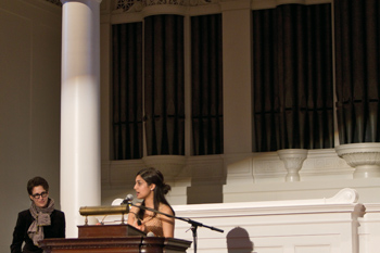Dias introducing Rachel Maddow on the Johnson Chapel stage