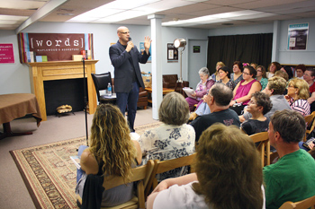 Harlan Coben '84 speaking to a crowd at the bookstore
