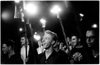 Torch-wielding students at 1950s bonfire