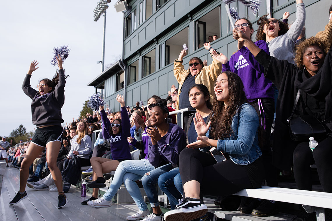 Cheering at the Amherst v. Trinity game