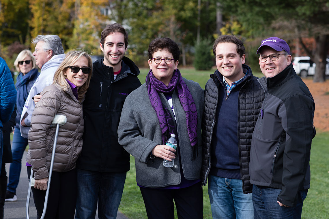 President Martin with Amherst families at the Amherst v. Trinity game