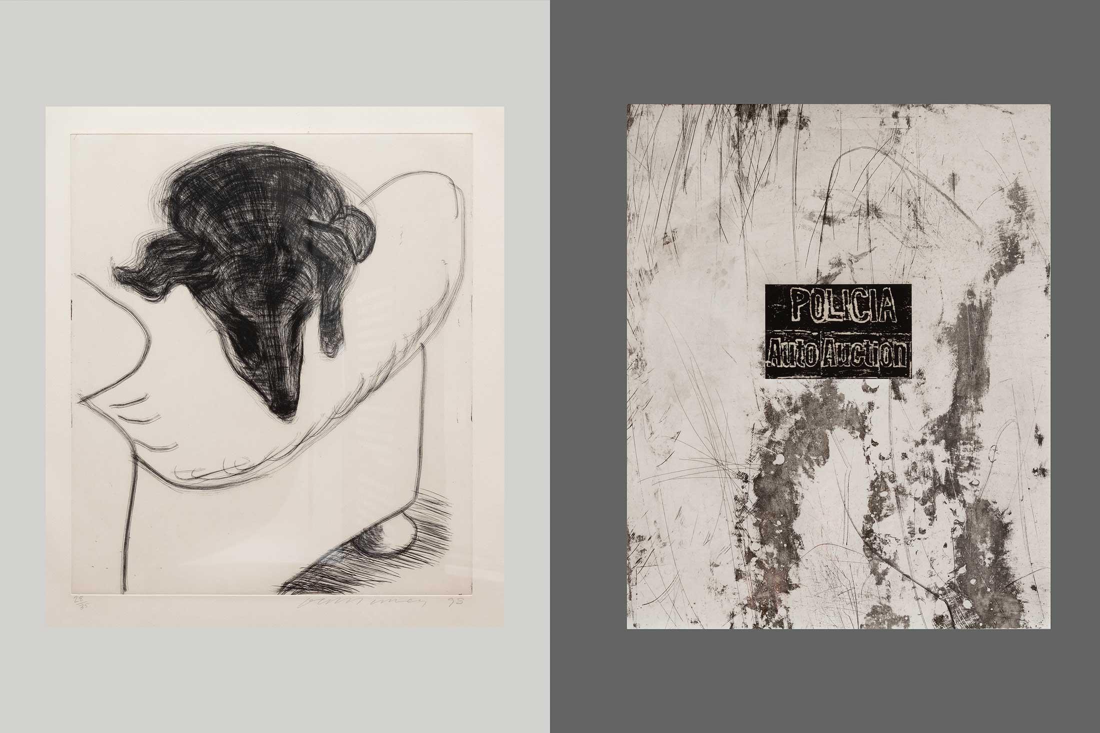 Left: Dog Etching No. 4 by David Hockney; Right: Untited by Mark Bradford