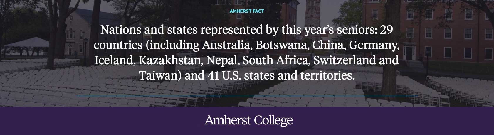Nations and states represented by this year's senior class: Amherst College
