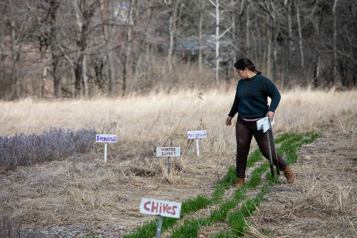 Maida Ives organizing signs for the garden