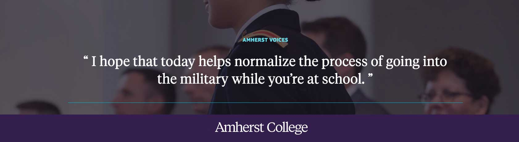 "Rebecca Segal: ""I hope that today helps normalize the process of going into the military while you're at school."""