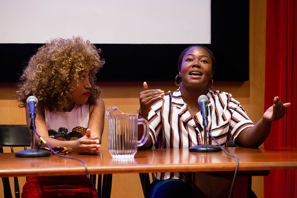 Two women speaking at the Black Studies and Beyond session during Reunion 2019