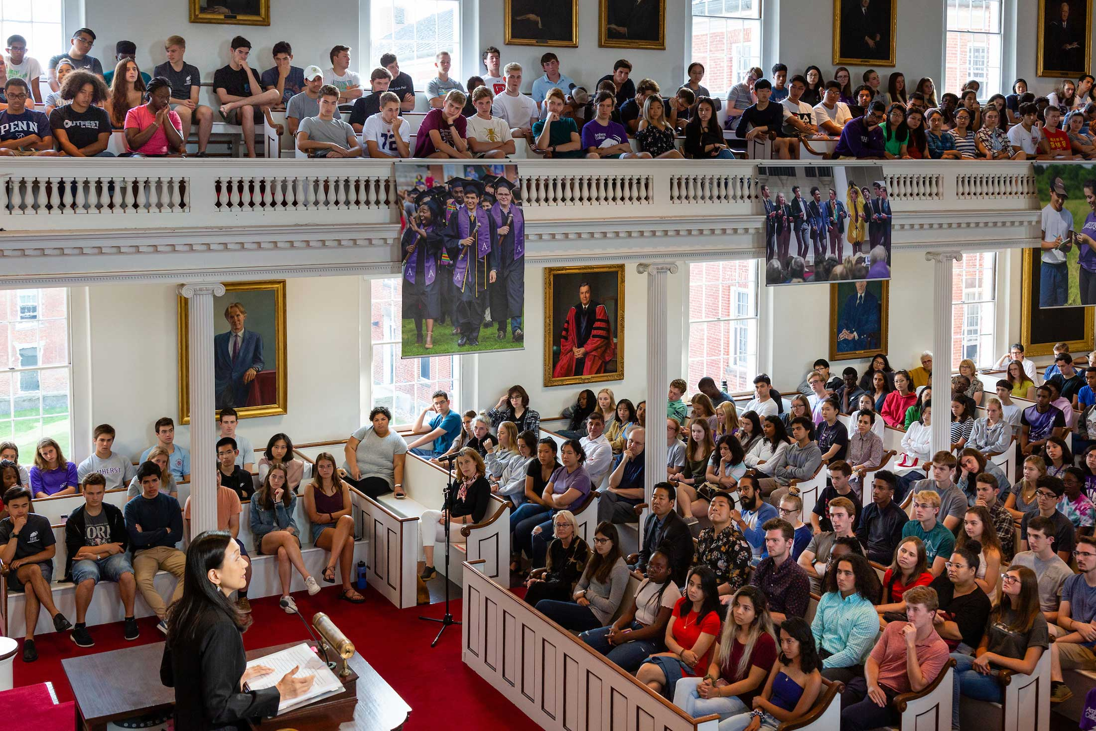 Min Jin Lee speaking to the incoming class.