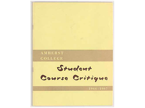 A yellow book that says Amherst College Student Course Critique 1966-1967