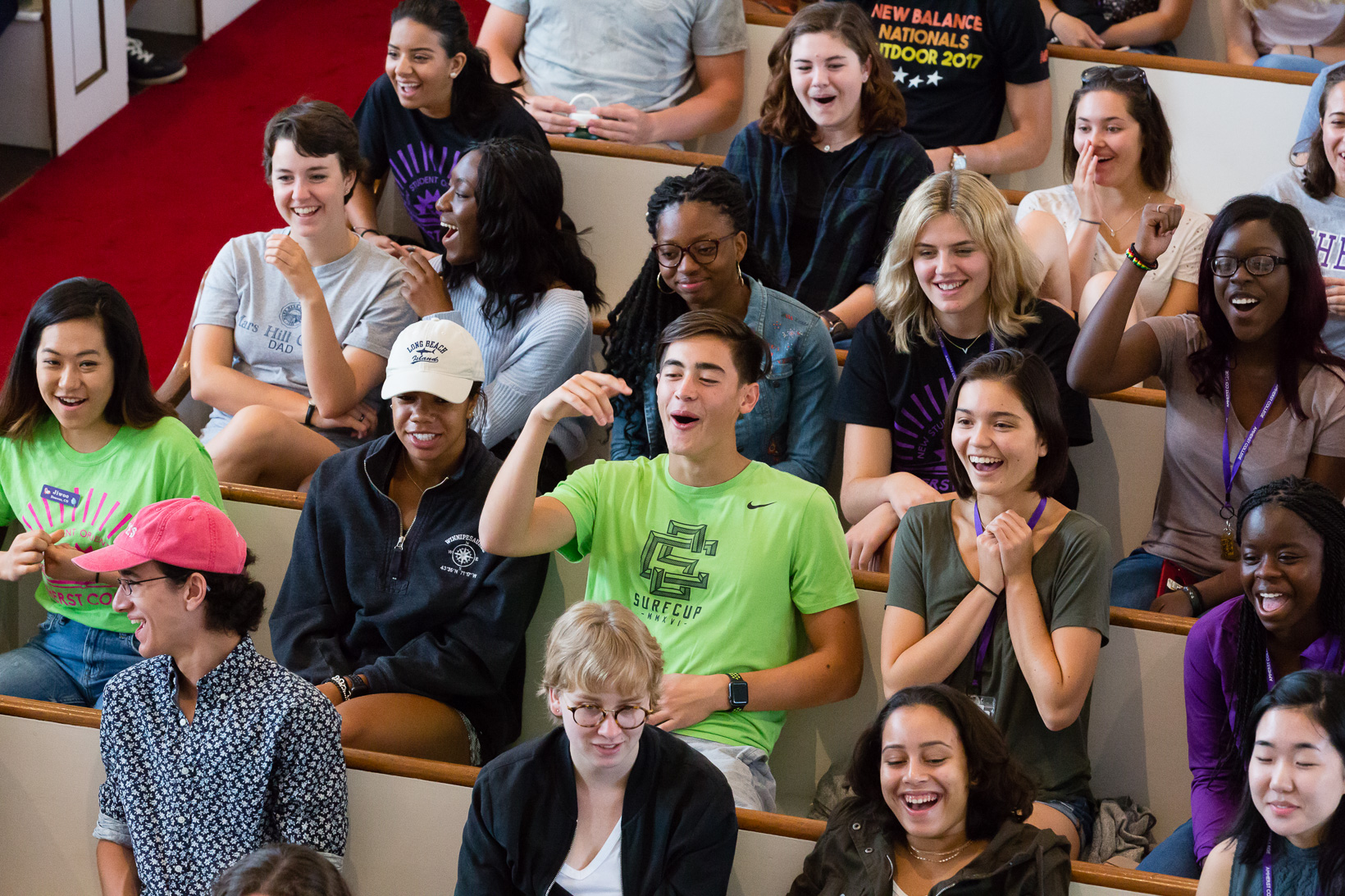 "Students in the audience react the ""Interpreting Bias"" presentation."