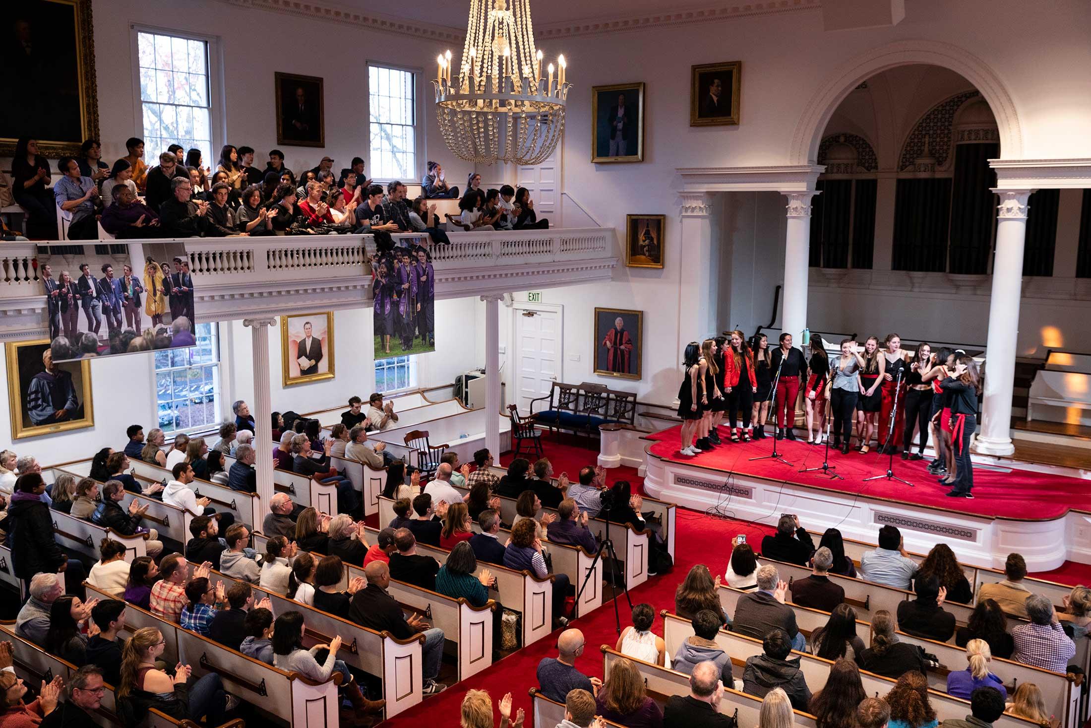 An a capella performance in John Chapel