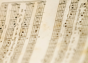 Detail of music from hymnal