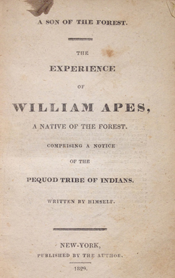 "Title page from ""The Experience of William Apes"""