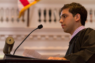 Laurence Pevsner '14  at Senior Assembly 2014