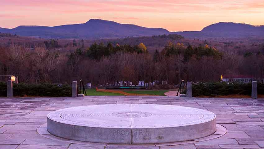 WW1 Memorial at Amherst College overlooking the Mt. Holyoke Range