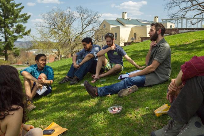 Adam Levine teaching a class outside