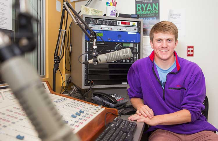 Bob Neel '16 at the WAMH studio