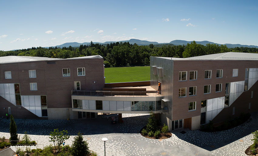 Residence Halls showing bridge connecting the two buildings