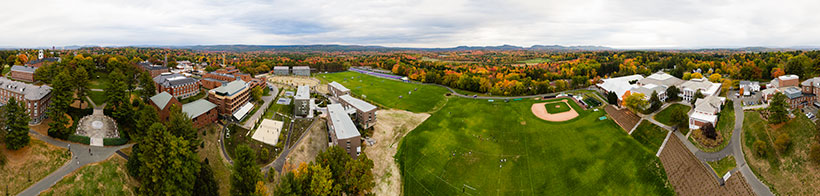 Panoramic view of Amherst College campus
