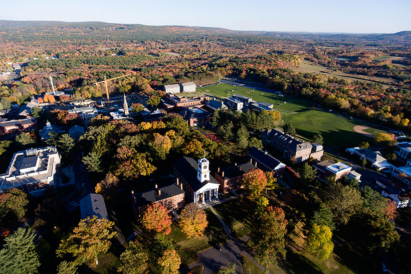 Aerial view of Amherst College campus in the fall