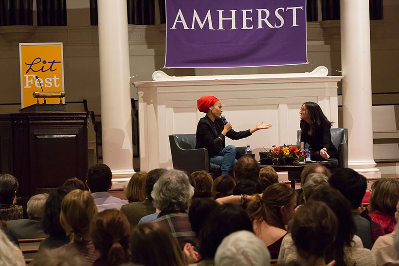 Zadie Smith and Jennifer Acker on stage in Johnson Chapel