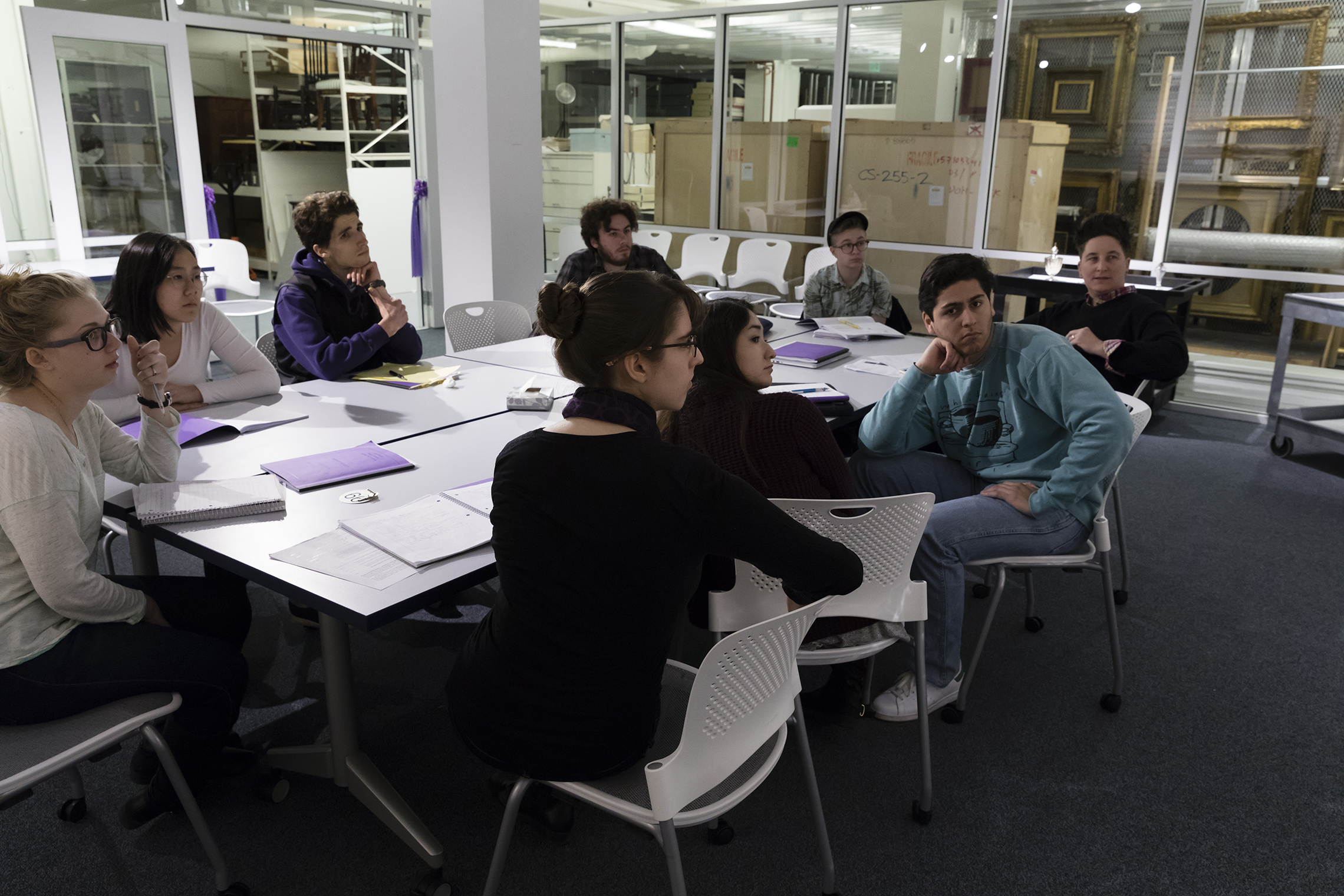 Students in Professor Jen Manion's class during a visit to the Mead's new study room in storage