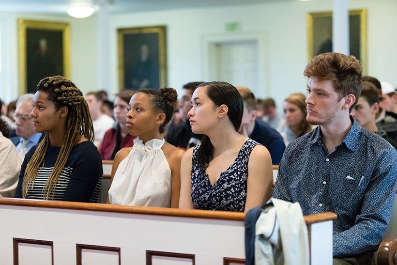 Students listening to the 2017 Demott Lecture in Johnson Chapel
