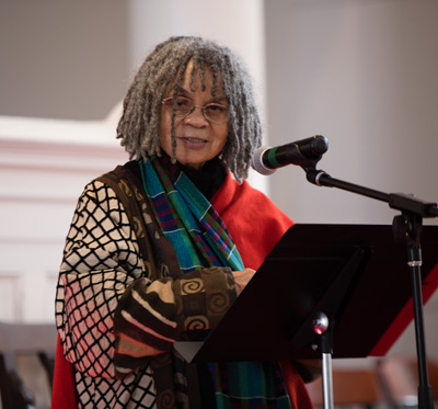 Sonia Sanchez speaking in Johnson Chapel