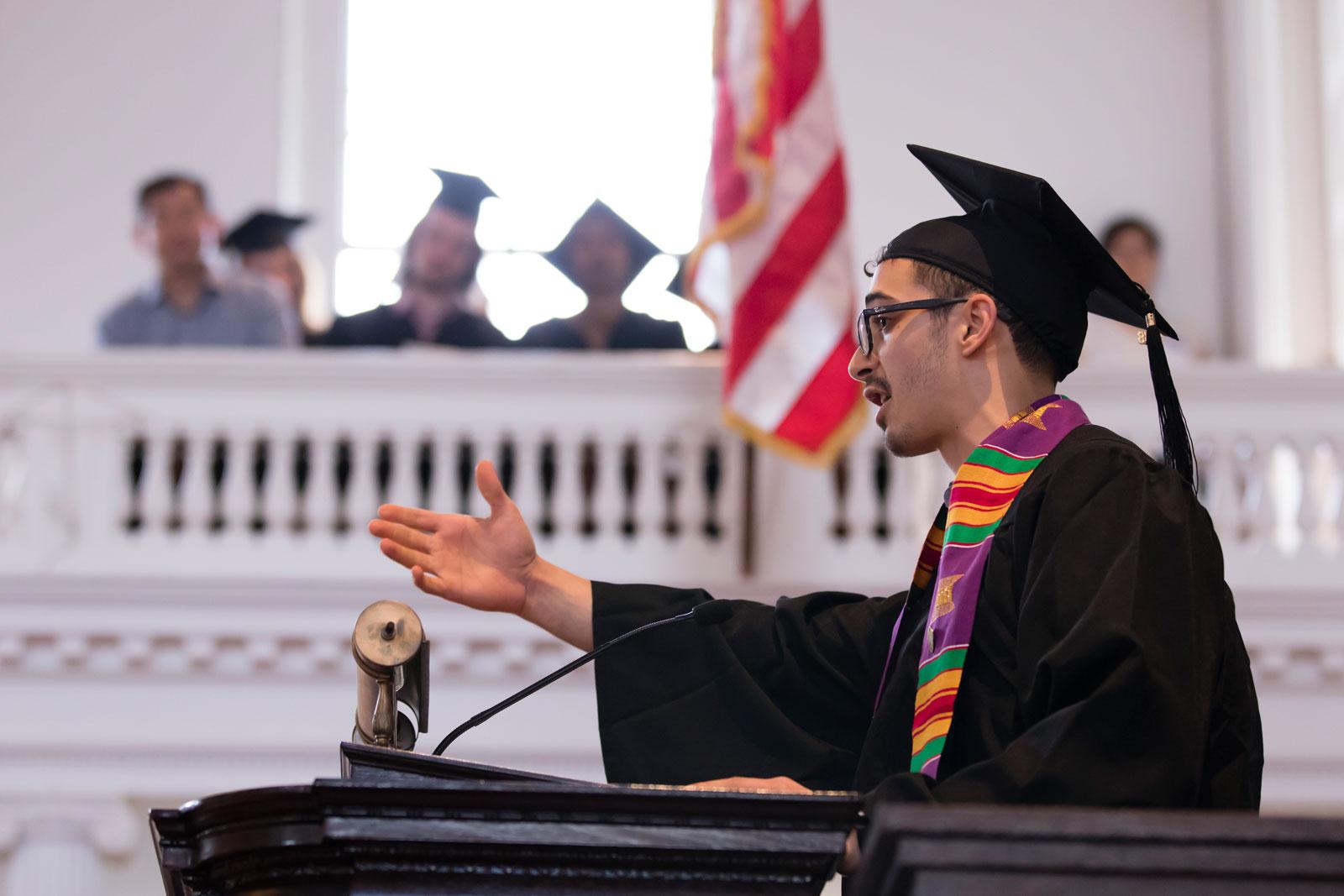 Mohamed Ahmed Ramy '18 speaks at the podium