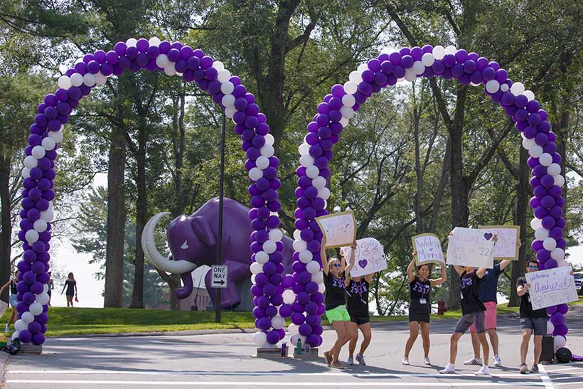The welcoming crew on the Academic Quad